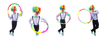 Funny clown with hoop on white