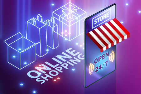 The online shopping concept with smartphone - 3d rendering