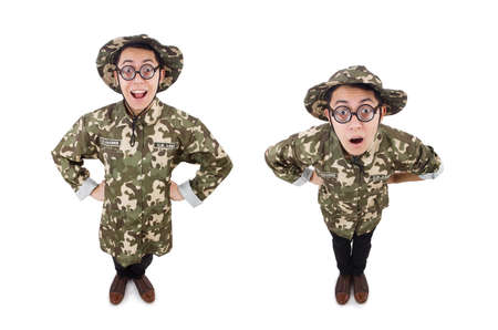 Funny soldier in military concept Banco de Imagens