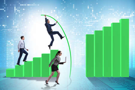 Business people vault jumping over bar charts Stockfoto