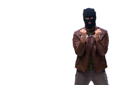 Robber wearing balaclava isolated on white background