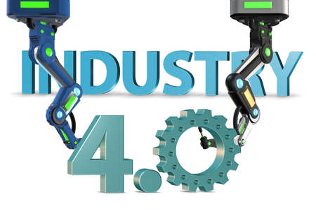 The industry 4.0 concept with various stages - 3d rendering Banco de Imagens