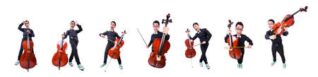 The funny man with violin on white