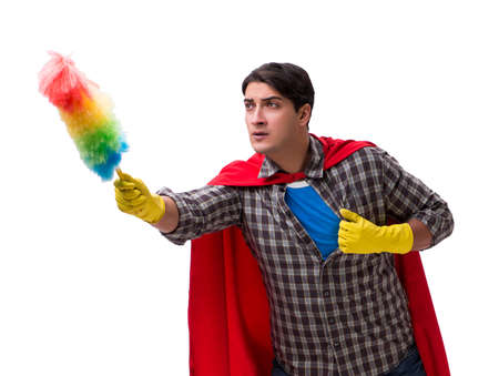 Super hero cleaner isolated on white  background