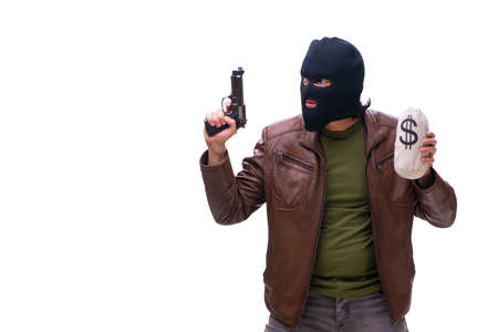 Robber wearing balaclava isolated on white background