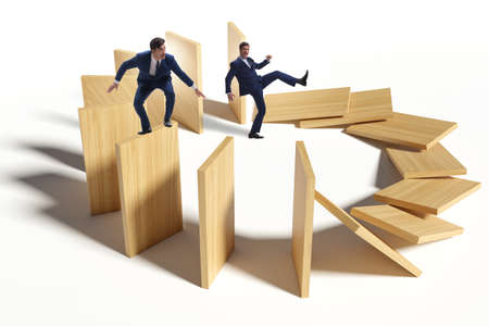 Domino effect and competition concept Banque d'images
