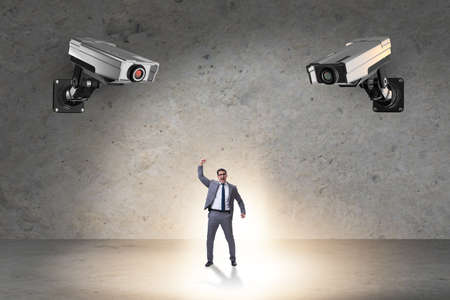 Cameras wathing man in spying concept