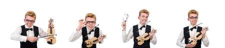 Funny violin player isolated on white Reklamní fotografie