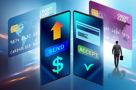 The businessman in money transfer concept Zdjęcie Seryjne