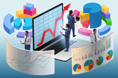 The trader working in technical visualization environment