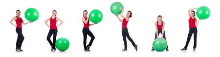 The young woman exercising with swiss ball