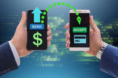The concept of mobile wallet transfers - 3d rendering Zdjęcie Seryjne