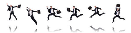 The jumping businessman isolated on the white