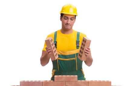 Le beau mur de briques de construction de travailleur de la construction Banque d'images