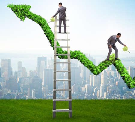 Homme affaires, investissement, concept, arrosage, financier, ligne, graphique