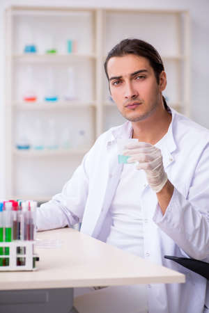 Young male chemist working in the lab Archivio Fotografico