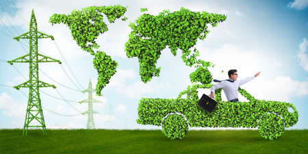 Electric car and green energy concept