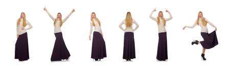 Pretty girl in violet long dress isolated on white Standard-Bild - 140460581
