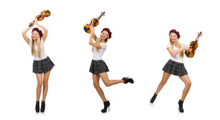 Woman playing violin isolated on white Reklamní fotografie
