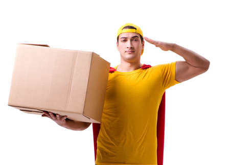 Super hero delivery guy isolated on white