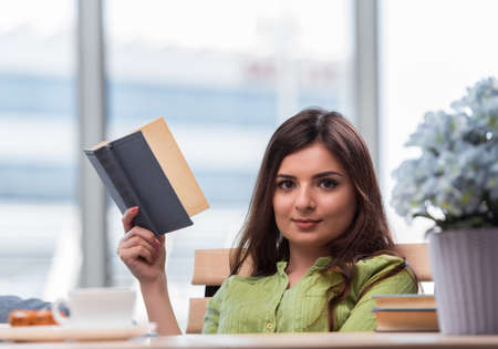 Young woman preparing for school exams Stock Photo