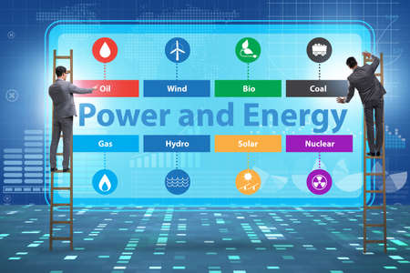 The energy mix concept with businessman Stock Photo