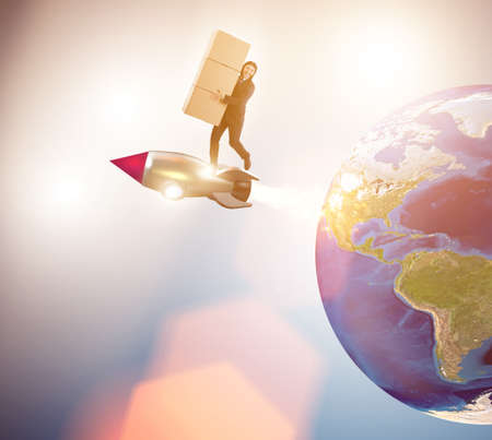 Businessman in global worldwide delivery service Stockfoto