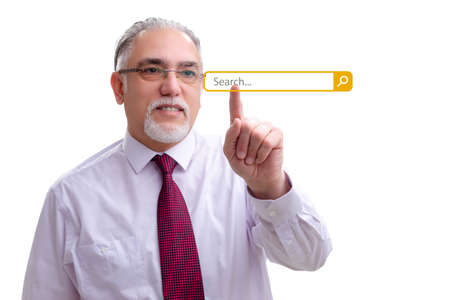 Search concept with businessman pressing button Foto de archivo