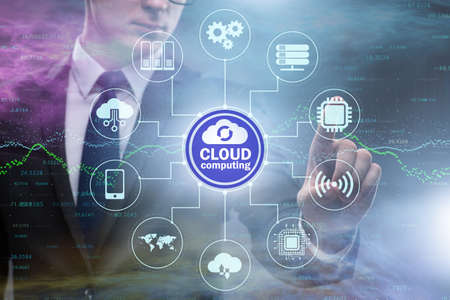 The cloud computing concept with woman pressing buttons