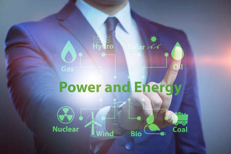 The energy mix concept with businessman