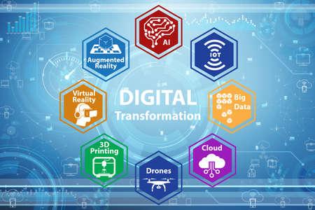 Digital transformation concept - 3d rendering