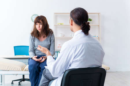Mentally ill woman patient during doctor visit