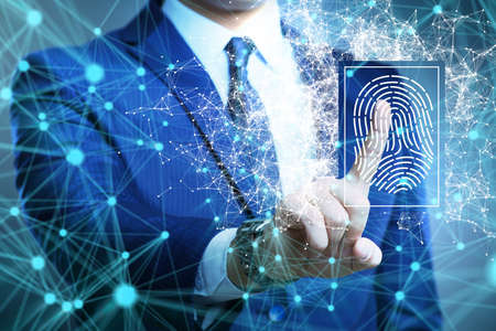 The biometrics security access concept with fingerprint
