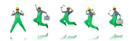 The industrial worker isolated on the white background
