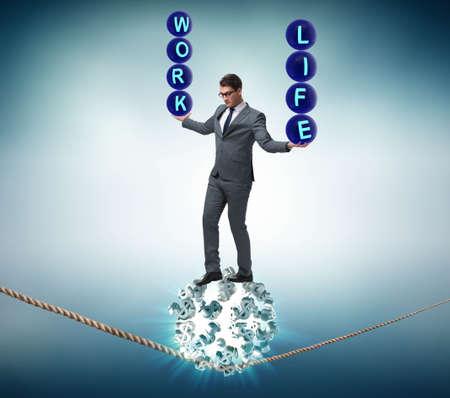 Businessman in work home balance concept Zdjęcie Seryjne