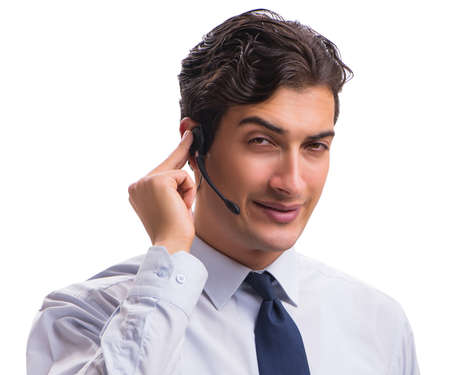 The man with headset isolated on white background Banque d'images