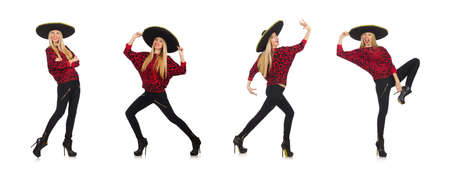 The funny mexican woman wearing sombrero isolated on white 写真素材