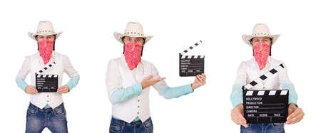 Cowboy isolated on the white background Stock Photo