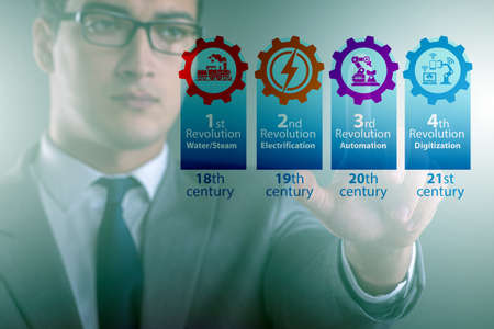 Industry 4.0 concept and stages of development Banco de Imagens