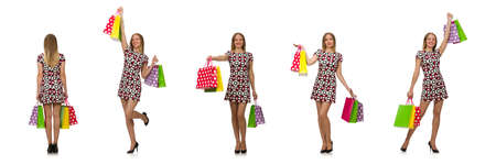 The young woman after shopping isolated on the white Stock Photo