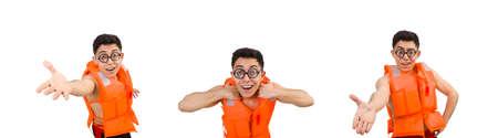 Funny man wearing orange safety vest