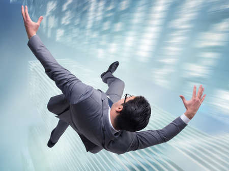 Businessman committing suicide due to crisis Stock Photo