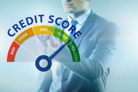 Businessman in credit score concept Imagens