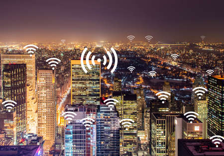 Internet of things concept in the city Imagens