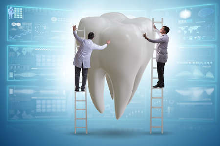 Doctors examining giant tooth in dental concept