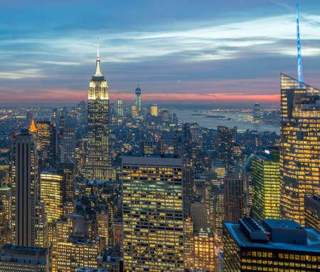 View of New York Manhattan during sunset hours Foto de archivo