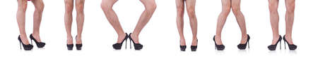 Man wearing woman shoes isolated on white Stockfoto