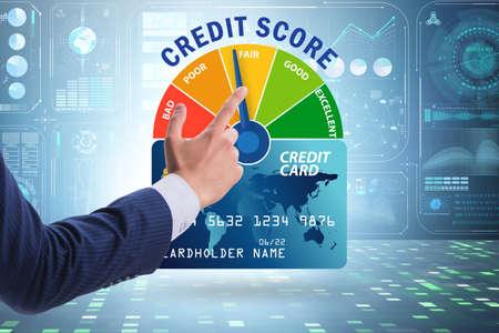 Businessman in credit score concept Stockfoto