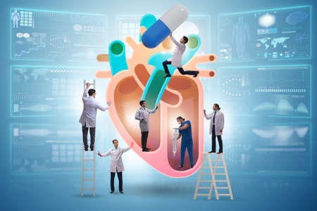 The heart examination by team of doctors