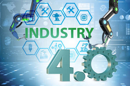 The industry 4.0 concept with various stages - 3d rendering